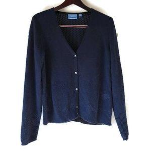 Simply Vera Vera Wang Navy Cashmere Cardigan XL